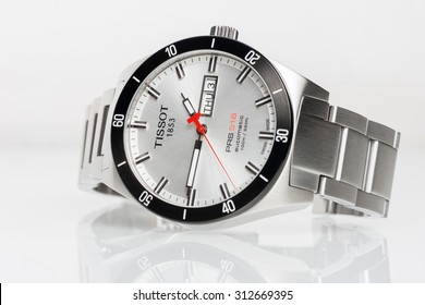 BANGKOK, THAILAND - SEPTEMBER 03, 2015: The Tissot PRS 516 Automatic watch on white background. Tissot is a luxury Swiss watchmaking company founded in Switzerland.