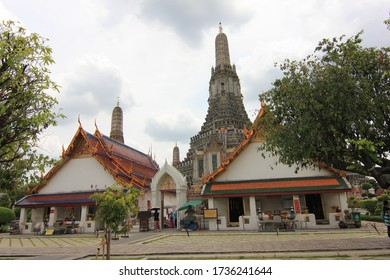 Bangkok, Thailand - September 05 2013: A view of the iconic Wat Arun Temple in Bangkok on a cloudy day