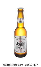 Bangkok, Thailand, September 06, 2015: Bottle of Asahi Beer on A White Background