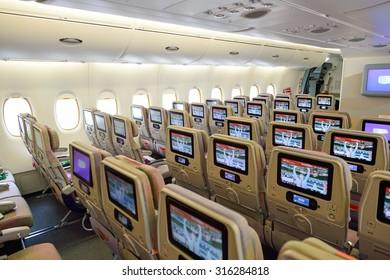 BANGKOK, THAILAND - SEPTEMBER 09, 2015: Emirates Airbus A380 aircraft interior. Emirates handles major part of passenger traffic and aircraft movements at the airport.