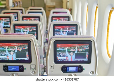 BANGKOK, THAILAND - SEPTEMBER 09, 2015: inside of Emirates Airbus A380. The Airbus A380 is a double-deck, wide-body, four-engine jet airliner manufactured by Airbus.