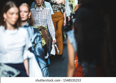 Bangkok, Thailand - September 1, 2019: Models walk on runway during Contemporary Southern Batik by OCAC collection Autumn/Winter 2019 Show on ELLE Fashion Week Fall/Winter 2019 at CentralWorld.
