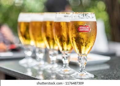 Bangkok Thailand, September 11, 2018. A glass of beer STELLA ARTOIS on the table.