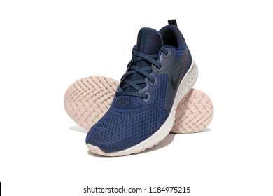 BANGKOK, THAILAND - SEPTEMBER 11, 2018: Nike Legend React men's running shoes, Blue Void color. Isolated on white background. Product shoot of Nike running shoes.