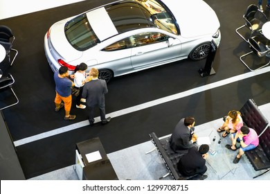Bangkok, Thailand - September 11, 2018 : department store interior of Top view of sell car at Central Plaza Bangkok. (Mercedes Benz)