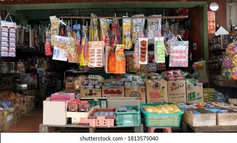 Bangkok, Thailand - September 11, 2020 : Traditional Shophouses Thai Style, Traditional Thai Talat Market, Talat Phlu, Khet ThonBuri District, Bangkok, Thailand