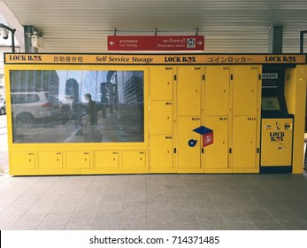 BANGKOK, THAILAND - September 11,2017. LOCKBOX Self Service Storage you can deposit luggage or baggage in lockers. It is first mass transit electronic locker in Thailand located near train stations.