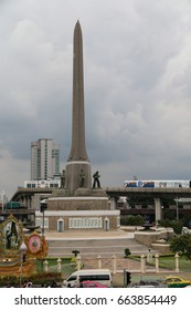 Bangkok, Thailand - September 12, 2016: Victory Monument, Bangkok's major traffic intersections, is a military monument erected in June 1941 to commemorate the Thai victory in the Franco-Thai War.