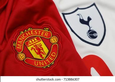 BANGKOK, THAILAND - SEPTEMBER 12: The Logo of   Manchester United and Tottenham Hotspur on Football Jerseys on September 12 ,2017  in Bangkok Thailand.