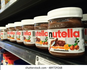 BANGKOK, Thailand - September 13, 2016: Jar of Nutella Hazelnut on Shelf in Supermarket, Nutella is the brand name of a sweetened hazelnut cocoa spread. Mobile photography.