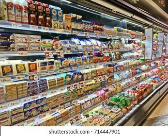 Bangkok, Thailand - September 13, 2017: Shelf of consumer goods, products, butter and cheese at Tops market. Tops market is a big supermarket in Thailand.