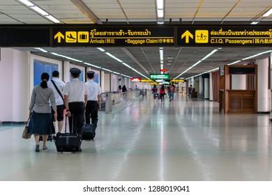 Bangkok ,Thailand- September 13,2018; Directional sign of Arrivals ,baggage claim,Customs Immigration Quarantine Passengers in Donmuang airport Bangkok ,Thailand in Thai,English and Chinese language.