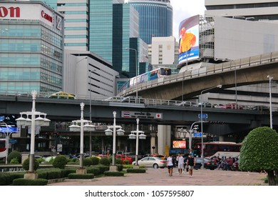 Bangkok, Thailand - September 14, 2016: Sala Daeng is the intersection and neighbourhood at the beginning of Silom Road with Thai-Japan Flyover Bridge passing over.