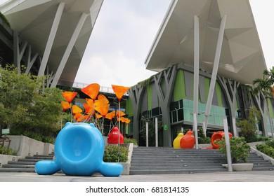 Bangkok, Thailand - September 14, 2016: Thanya Park is a modern eco lifestyle shopping mall with passport service center on Srinakarin Road.
