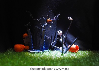 BANGKOK, THAILAND -SEPTEMBER 14, 2018: Halloween characters from The Nightmare Before Christmas story by Tim Burton