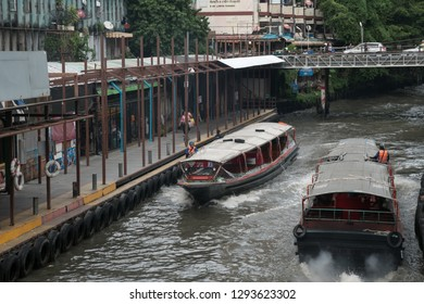 Bangkok, Thailand - September 14, 2018: Transport boats run on Saen Saep canal to Pratunam Pier, The Saen Saep boat service carries about 60,000 passengers per day in city's traffic-congested