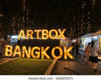 BANGKOK , THAILAND - September 14, 2019: Art box night market is in between Nana and Asok BTS station. The atmosphere is good and relax with live music and getaway from the busy Sukhumvit Rd.