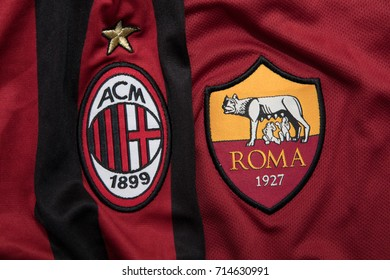 BANGKOK THAILAND - SEPTEMBER 14: the logo of AC Milan and A.S. Roma on  Football Jersey on September 141,2017