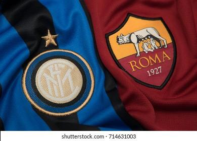 BANGKOK THAILAND - SEPTEMBER 14: the logo of AC Milan and A.S. Roma on  Football Jersey on September 141,2017