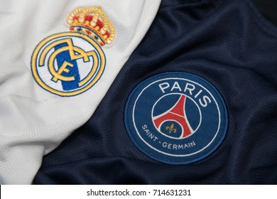 BANGKOK THAILAND - SEPTEMBER 14: the logo of Reak Madrid and PSG Paris Saint German on  Football Jersey on September 141,2017