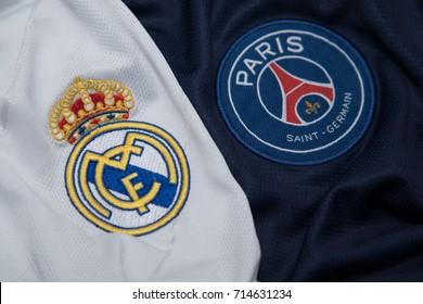 BANGKOK THAILAND - SEPTEMBER 14: the logo of Reak Madrid and PSG Paris Saint German on  Football Jersey on September 141,2017
