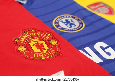 BANGKOK, THAILAND - SEPTEMBER 15, 2014: background of new english premier league football jersey in Bangkok Thailand on 15 September 2014.