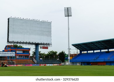 Bangkok, Thailand - September 15, 2015 : PAT Football stadium with blank billboard. PAT Stadium is a stadium in the Khlong Toei district Bangkok, Thailand.