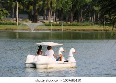 Bangkok, Thailand - September 15, 2016: Tourists are relaxing with duck boat ride at Lumphini Park.