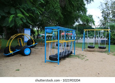 Bangkok, Thailand - September 15, 2016: Michelin tires are used for children playground at Lumphini Park.