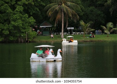 Bangkok, Thailand - September 15, 2016: Visitors are relaxing with paddle boat ride at Lumphini Park.