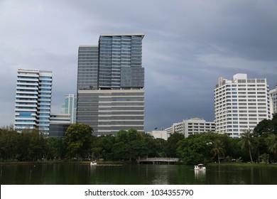 Bangkok, Thailand - September 15, 2016: King Chulalongkorn Memorial Hospital, a public general and tertiary referral hospital, is located near Lumphini Park in Bangkok, Thailand.