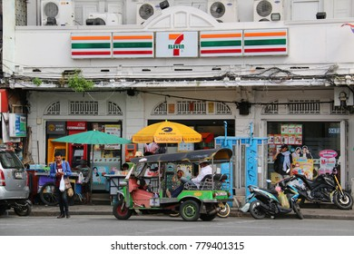 Bangkok, Thailand - September 15, 2016: 7-Eleven is an international chain of convenience stores operating franchises and licenses in 17 countries.