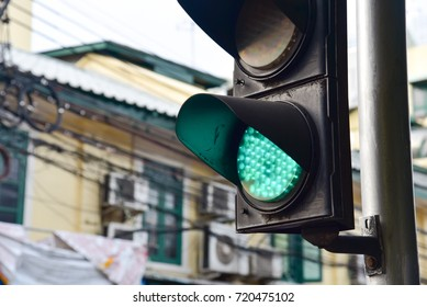 Bangkok, Thailand - SEPTEMBER 15, 2017: Close-Up View of Green Traffic Light