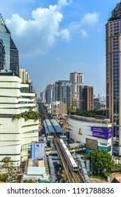 Bangkok, Thailand - September 15, 2018 : City scape of Phrompong BTS sky train, Emporium & Emquartier, shopping center, accommodations, office building, hotels in business area, Sukhumvit road.