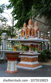 Bangkok, Thailand - September 16, 2016: Household shrine is a small structure dedicated to a deity that is part of a localised household deity.