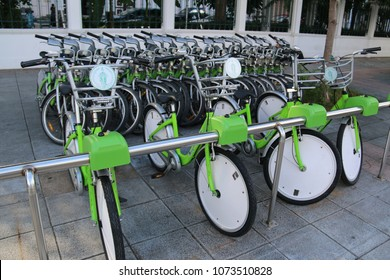Bangkok, Thailand - September 16, 2016: Bangkok Public Bicycles from Pan Pan Project are available for people to borrow or rent for short distance ride.