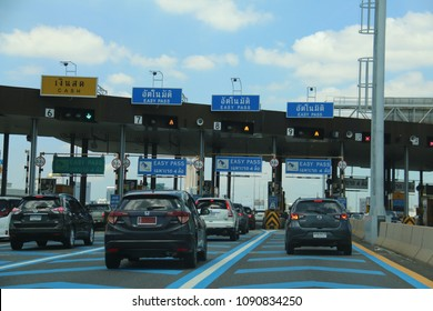 Bangkok, Thailand - September 16, 2016: Vehicles are in line to pay for expressway service.