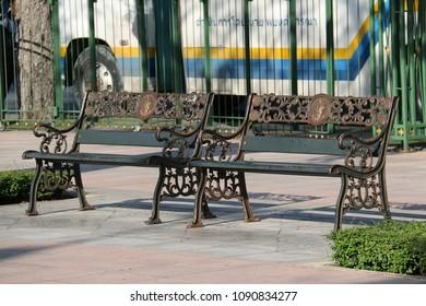 Bangkok, Thailand - September 16, 2016: Benches are prepared for tourists around Sanam Luang by Bangkok Metropolitan Administration.