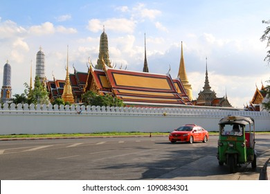 Bangkok, Thailand - September 16, 2016: Emerald Buddha Temple is the most sacred Buddhist temple, a potent religion-political symbol and the palladium of Thai society.