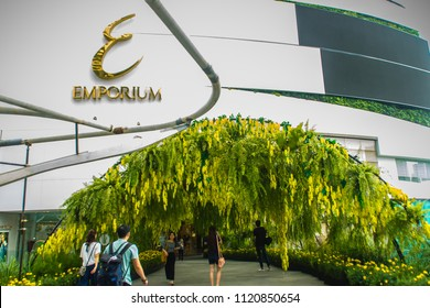 Bangkok, Thailand - September 16, 2017: Front of the Emporium shopping mall in Bangkok. It opened in 1997, owned and operated by The Mall Group, who also operate the EmQuartier and Siam Paragon malls.