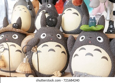 Bangkok, Thailand - September 16, 2017 : A photo of cute character called Totoro, a very well known Japanese character from Chibli studio's animation My Neighbor Totoro (1988). Editorial used only.