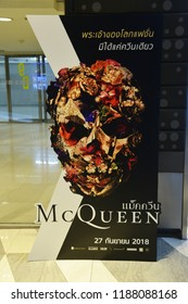 Bangkok, Thailand - September 16, 2018: The Standee of the Fashion Designer Discography movie McQueen (Lee Alexander McQueen) Displays at the Theater.