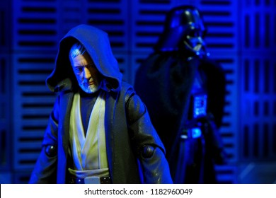 Bangkok, Thailand- September 16,2018: The famous Obiwan Kenobi and Darth Vader characters action figure from Star Wars film series.