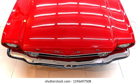 BANGKOK, THAILAND - SEPTEMBER 17, 2017: American muscle Ford Mustang top view. Reflection on vintage car bonnet after paint polishing & coating.