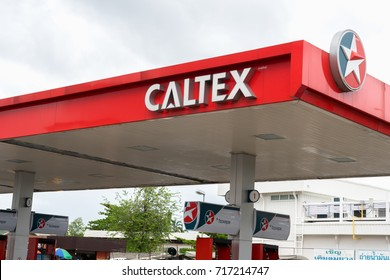 Bangkok, Thailand - September 17, 2017:Caltex gas station blue sky background. Caltex is a petroleum brand name of Chevron Corporation used in more than 60 countries.