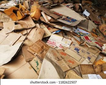 Bangkok, Thailand - September 17, 2018 : pile of waste carton boxes for recycle