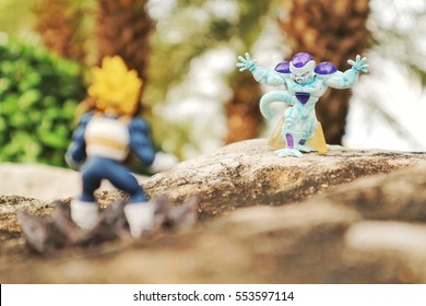 BANGKOK, THAILAND - SEPTEMBER 17: Freezer, the most well known villain from Dragon Ball manga, is prepare to fight with Bejita on September 17, 2016 in Bangkok, Thailand