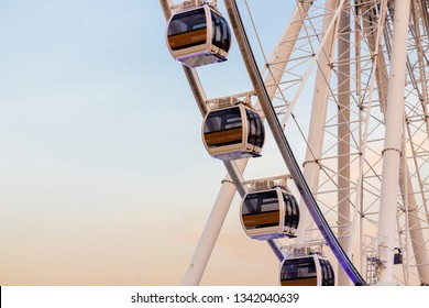 BANGKOK, THAILAND - SEPTEMBER 18, 2015: Close up on part of Ferris Wheel 'Asiatique Sky', also called 'Asiatique Big Wheel' at the Asiatique Riverfront Nightmarket