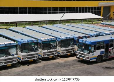 Bangkok, Thailand - September 18, 2016: Bangkok buses are waiting for their passengers at a terminal.
