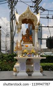 Bangkok, Thailand - September 18, 2016: The Phra Phrom Shrine is a shrine housing a status of the Thai representation of the Hindu God of Creation Lord Brahma.